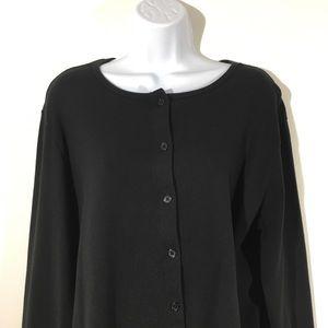 Eddie Bauer Sz XL Black Cotton Cardigan Sweater